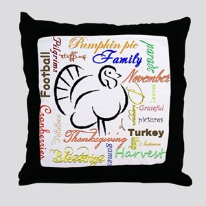 Thanksgiving words Throw Pillow